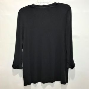 Kim Rogers Tops - (SOLD)Kim Rogers Top 2X Black V-Neck 3/4 Sleeves